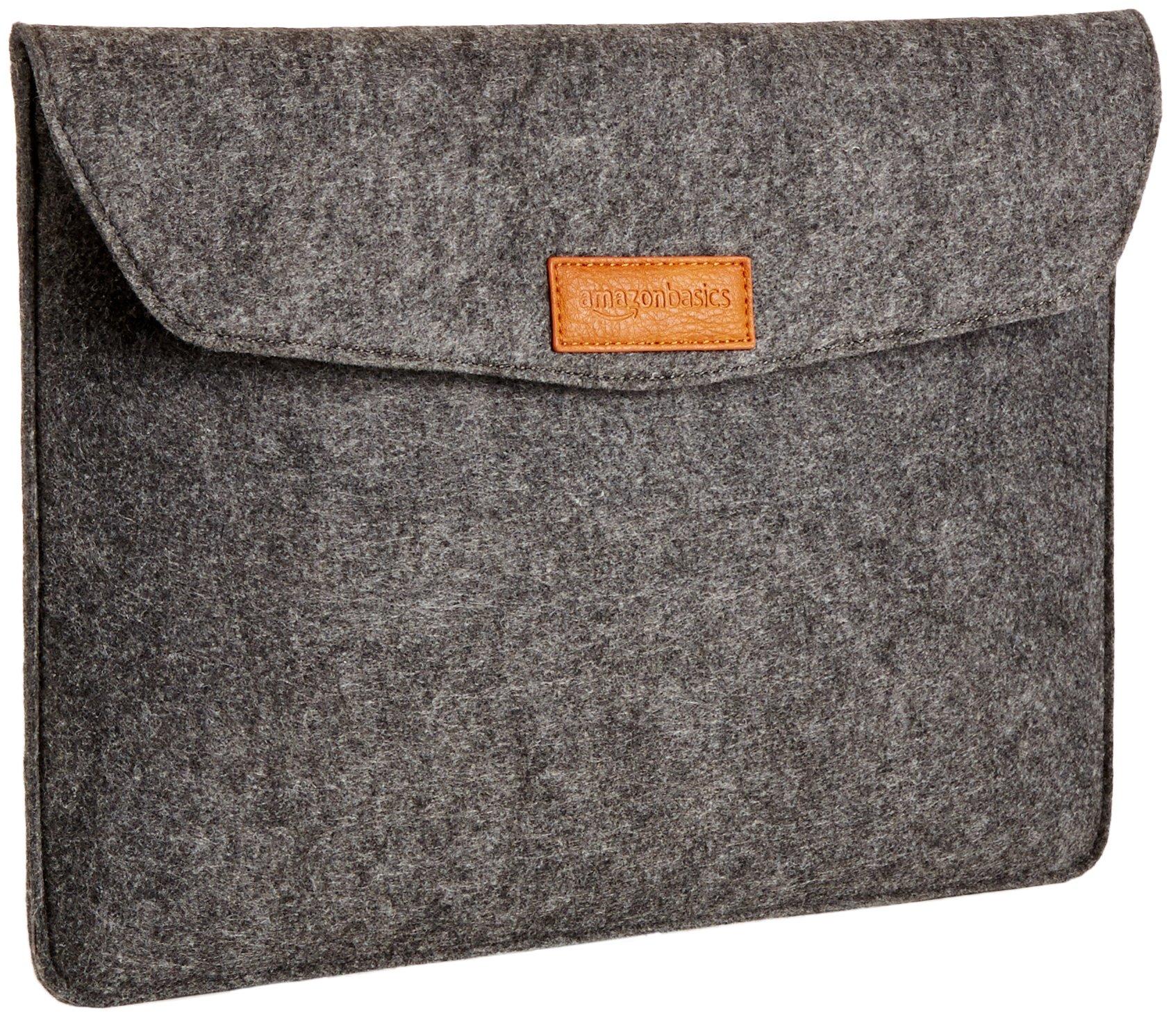 AmazonBasics 13 Inch Felt Macbook Laptop Sleeve Case - Charcoal by AmazonBasics