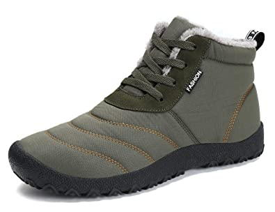 Sixspace Herren Damen Winterschuhe Schneestiefel Warm Gefüttert Winter Stiefel Outdoor Boots, Schwarz 46 EU