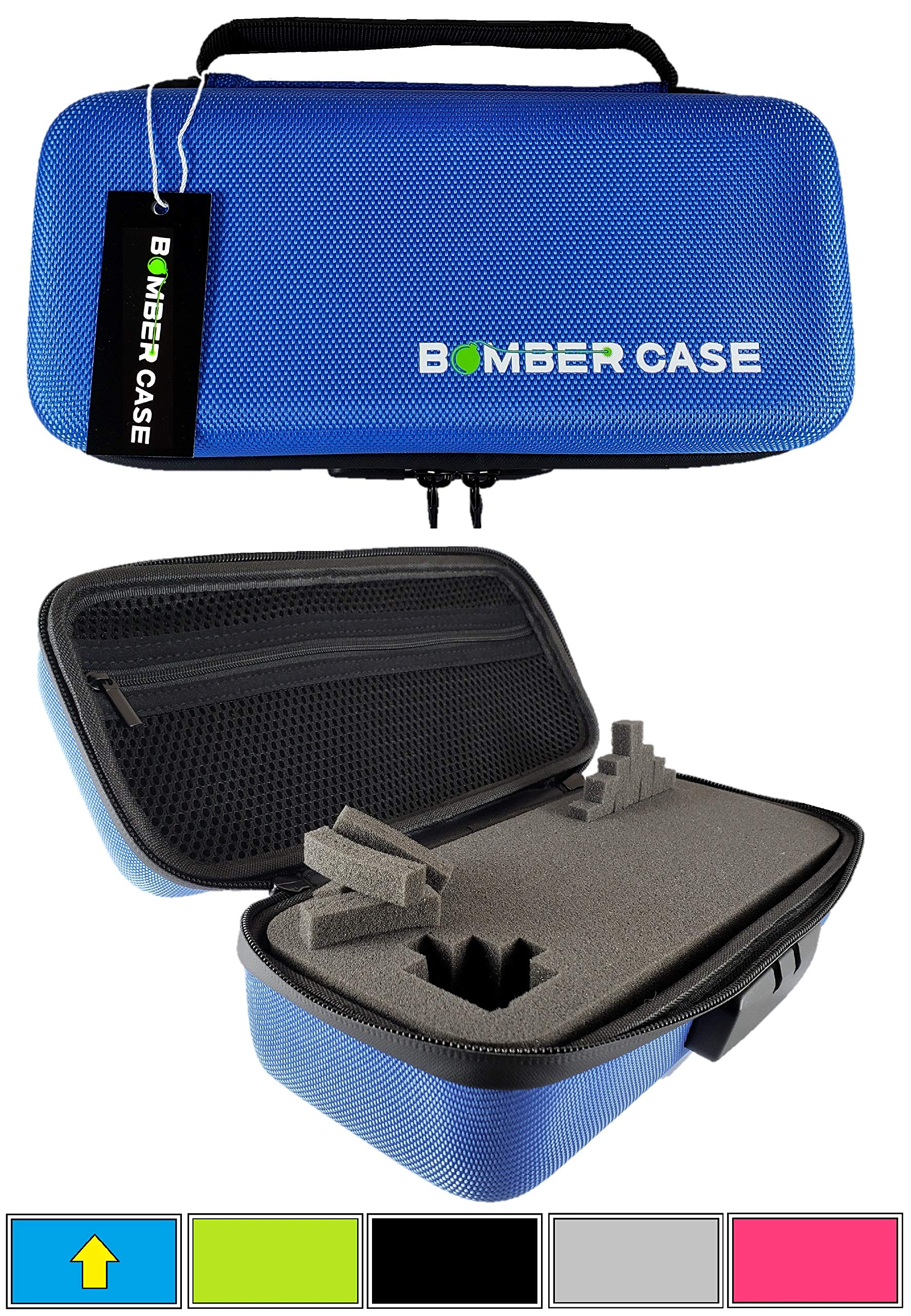 BOMBER CASE - Combination Lock Box - Smell Proof Stash Case - Customizable Foam Interior - Flexible Construction and Odor Proof Locking Zipper - Safe Container - 9.5'' x 4'' x 3.5'' - Blue by BOMBER CASE