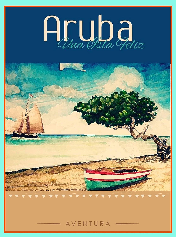 Aruba California Lighthouse Travel Print Landmark Artwork Vintage Poster