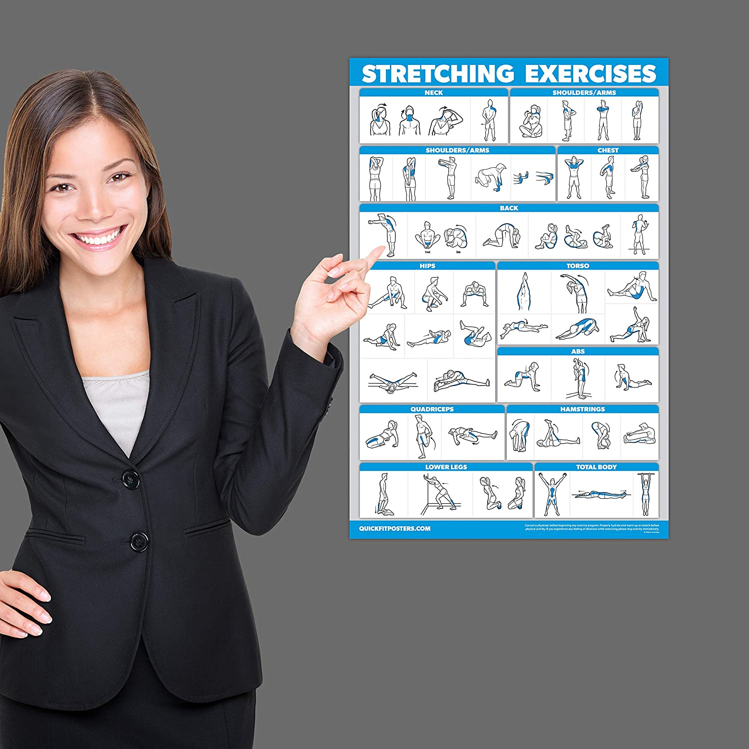 QuickFit Stretching Workout Exercise Poster Double Sided Laminated, 18 x 27