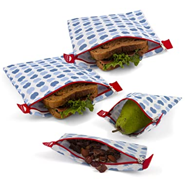 Reusable Sandwich Bags - Set of 4 Nordic By Nature Premium Insulated Reusable Snack bags   Dishwasher Safe   Easy Open Zipper Lunch Baggies   BPA Free & Food Safe Wraps   Apple Pattern Design