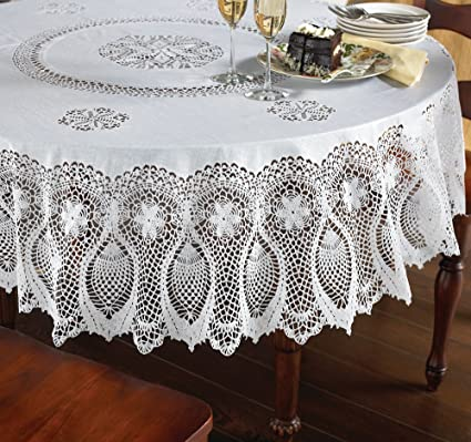 Etonnant Vinyl Lace Tablecloth   70u0026quot; Round Faux Lace Plastic Table Cover Is  Reusable And Protects
