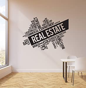 Vinyl Wall Decal Real Estate Broker Words Cloud Interior Art Stickers Mural Large Decor (ig5733) Black