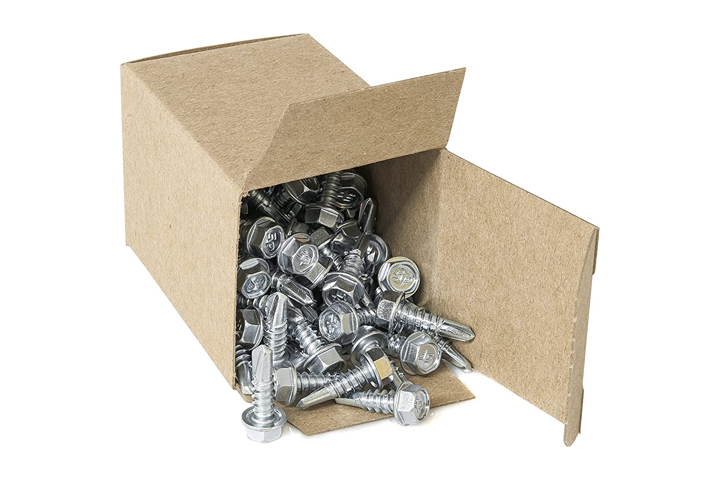 Box of 100 Strong-Point #12 x 1 Hex Washer Head Self-Drilling Tek Screw Zinc Plated Steel for Attaches Sheet Metal Steel Or Steel to Metal