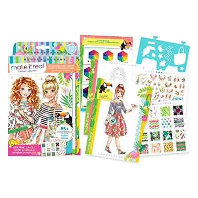 Make It Real - Fashion Design Sketchbook: Graphic Jungle. Inspirational Fashion Design Coloring Book for Girls. Includes Sketchbook, Stencils, Puffy Stickers, Foil Stickers, and Fashion Design Guide: Toys & Games