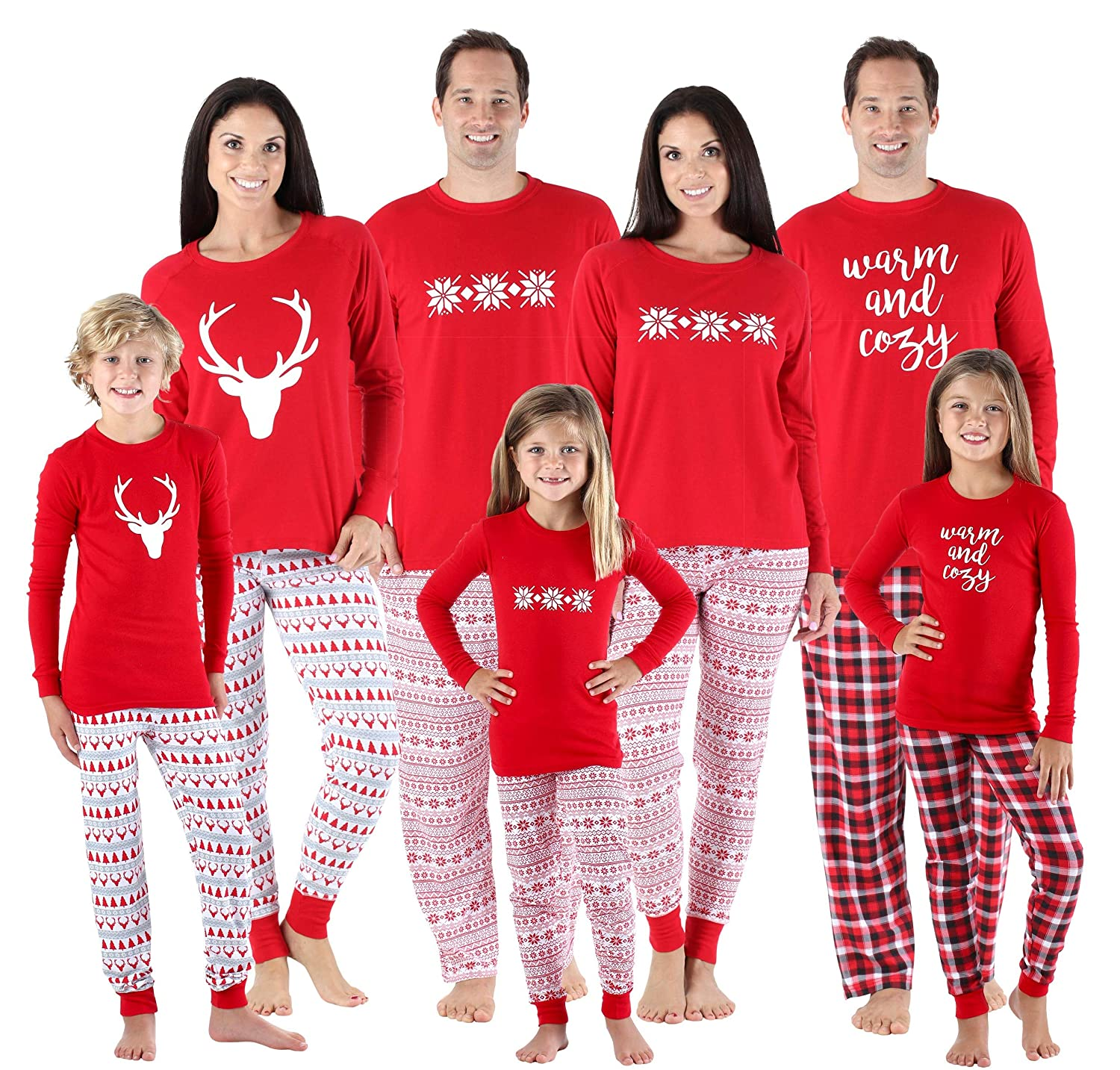 fc062e0625 Amazon.com  SleepytimePjs Family Matching Sleepwear Knit Holiday Mix and  Match Pajamas PJs Collection  Clothing