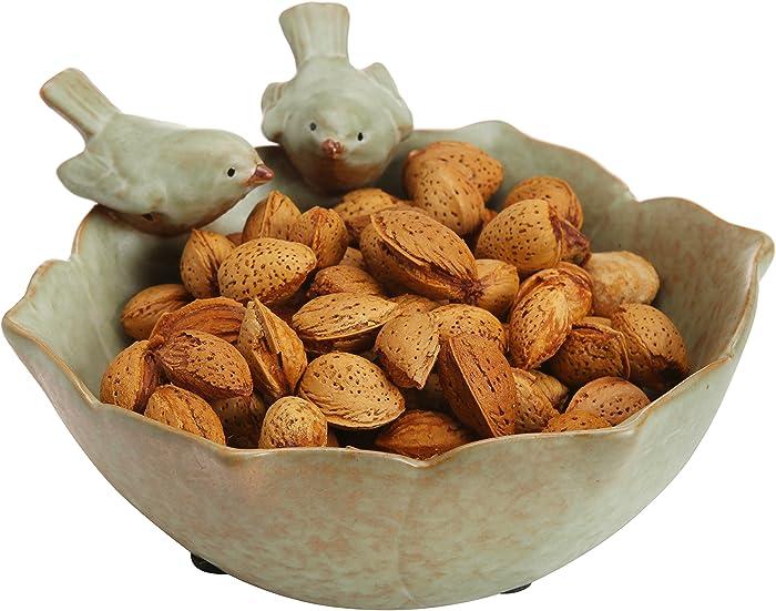 MyGift Decorative 2 Birds Garden Design Ceramic Green Serving Bowl/Jewelry Tray/Candy & Nut Dish