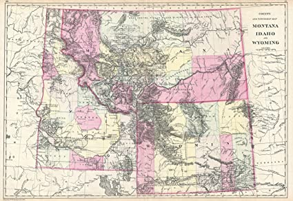 Amazon Com Historical 1884 Bradley Map Of Montana Wyoming And