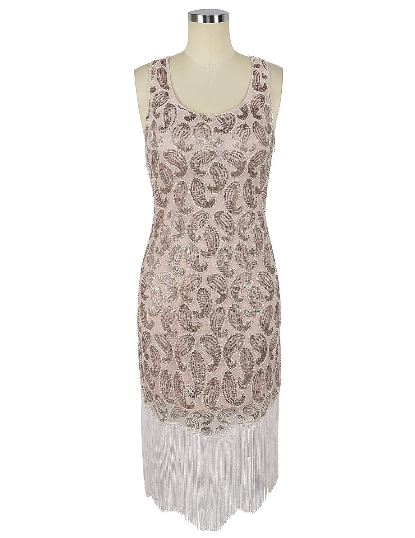 PrettyGuide Damen 20er Jahre Kleid Pailletten Paisley Franse Hem ...