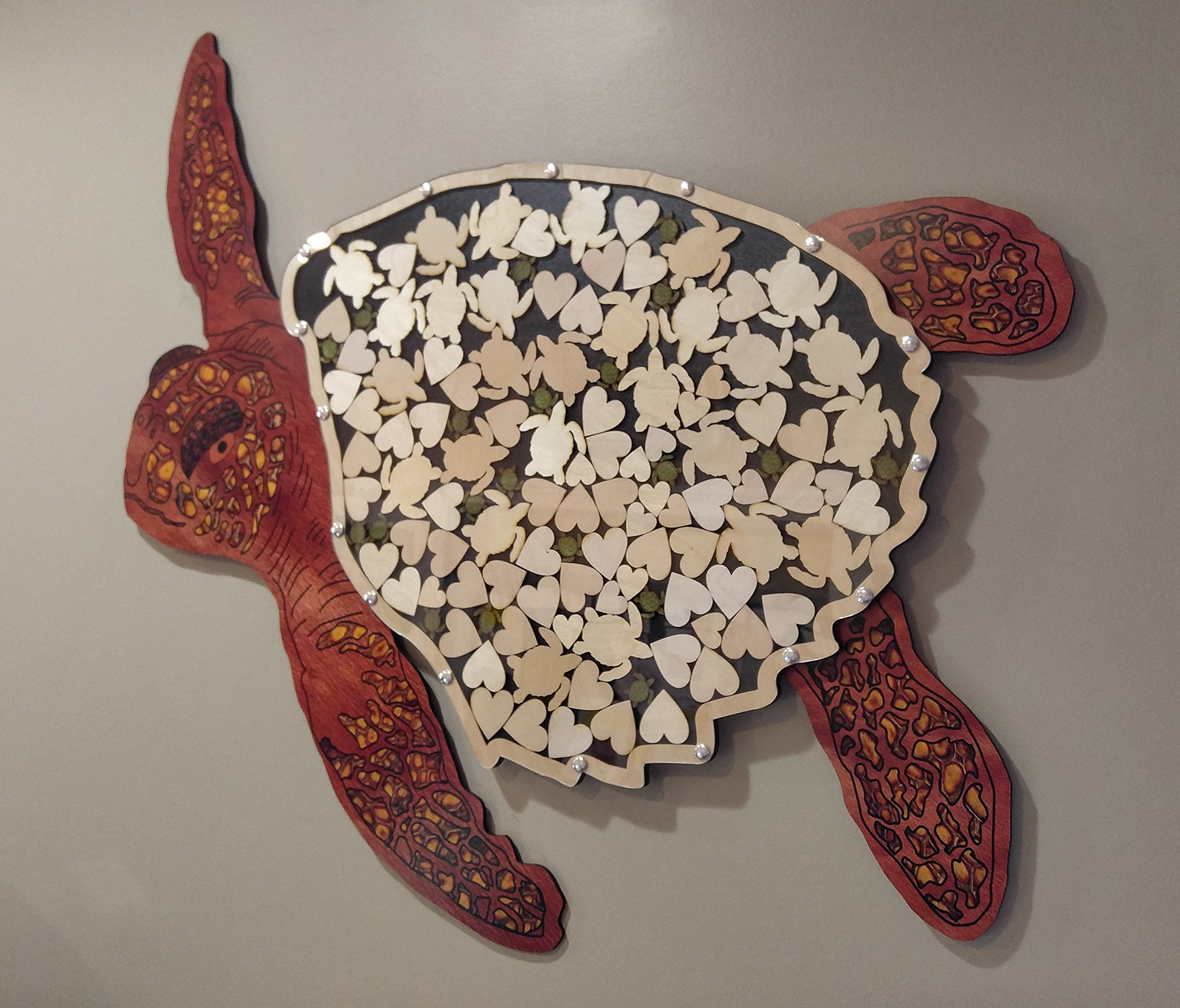 Sea Turtle Alternative Wedding Guest Book Wood Shadow Box with Multi-sized Signing Charms by Together Forever Puzzles