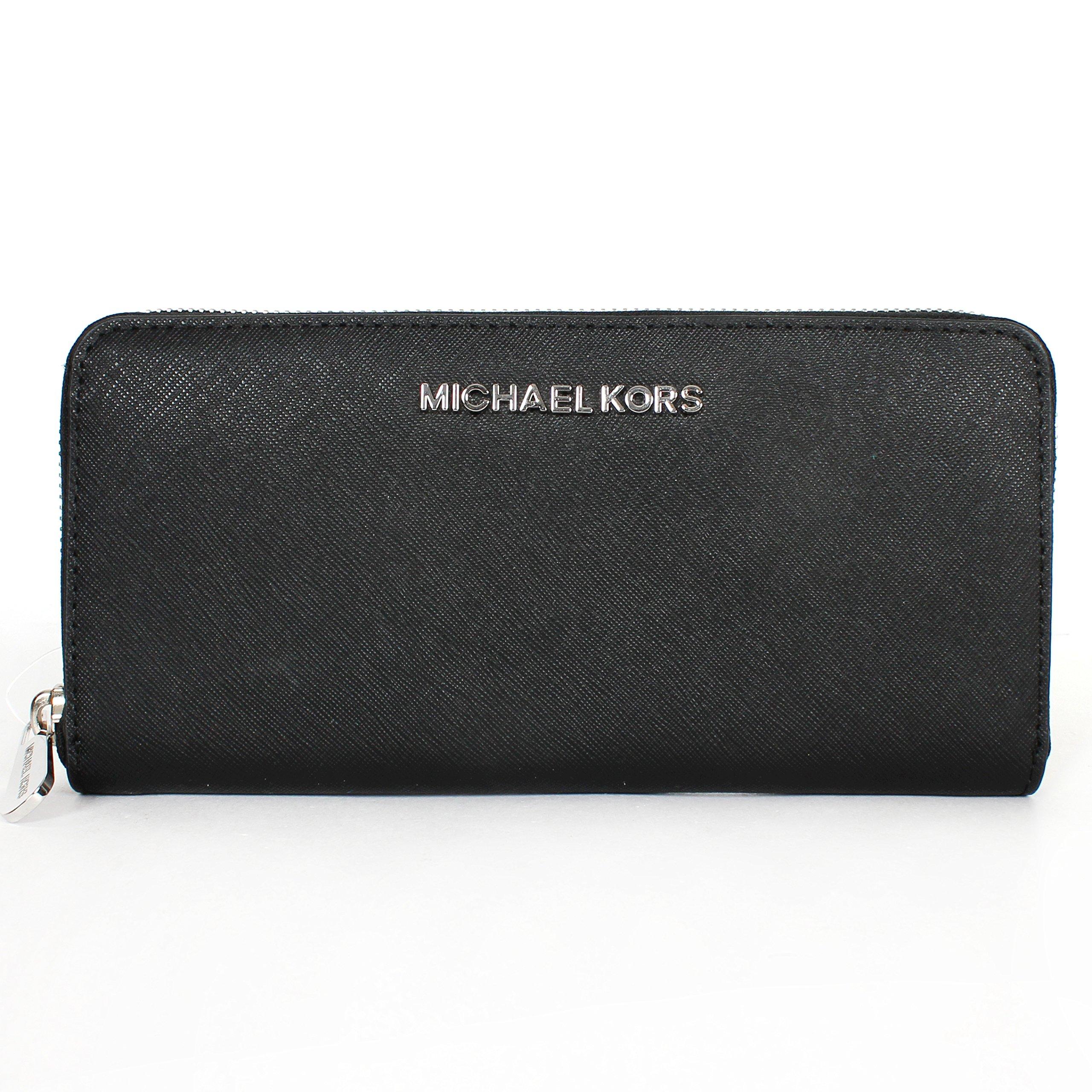 Michael Kors Jet Set Travel Zip Around Continental Wallet Silver/black