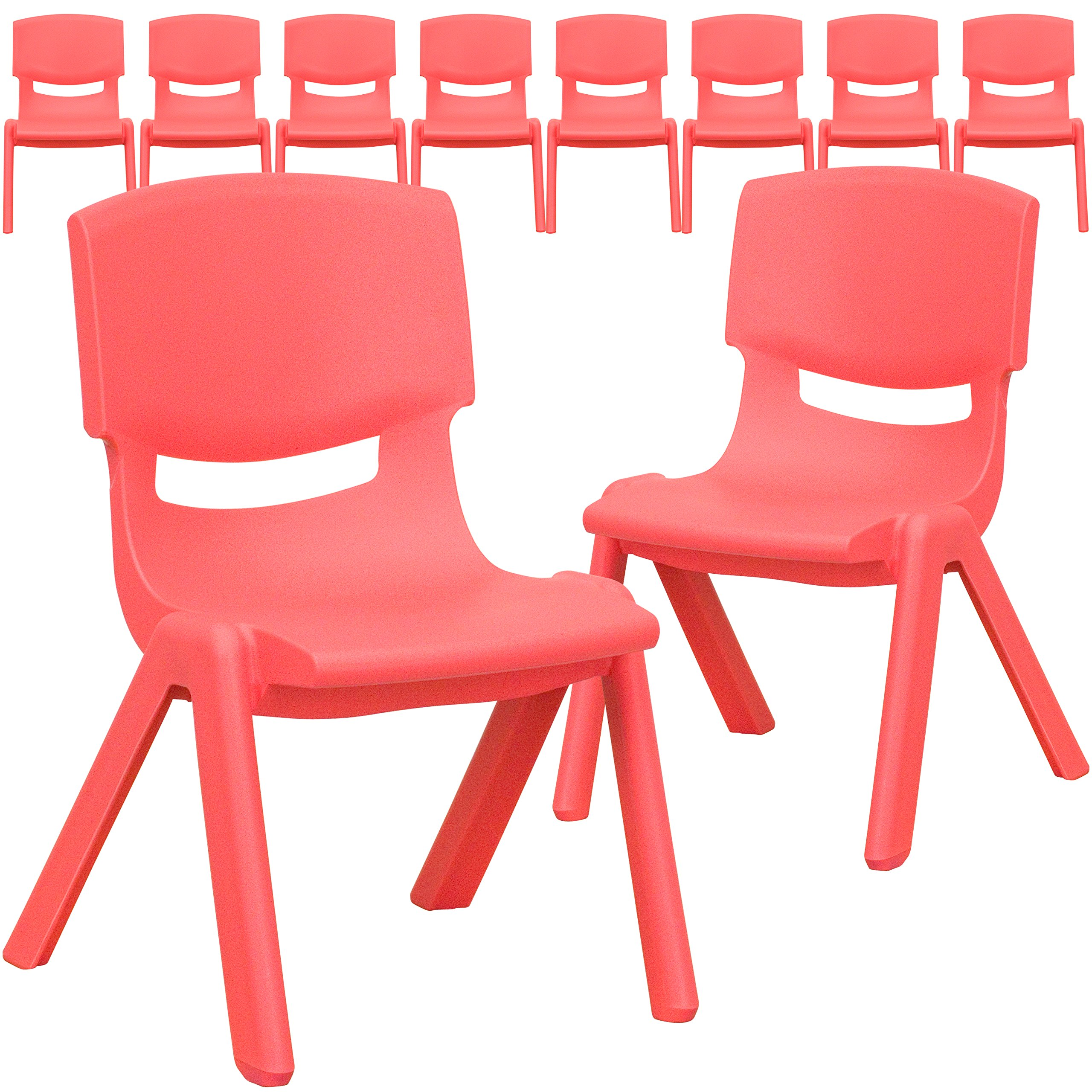 Flash Furniture 10 Pk. Red Plastic Stackable School Chair with 10.5'' Seat Height - by Flash Furniture
