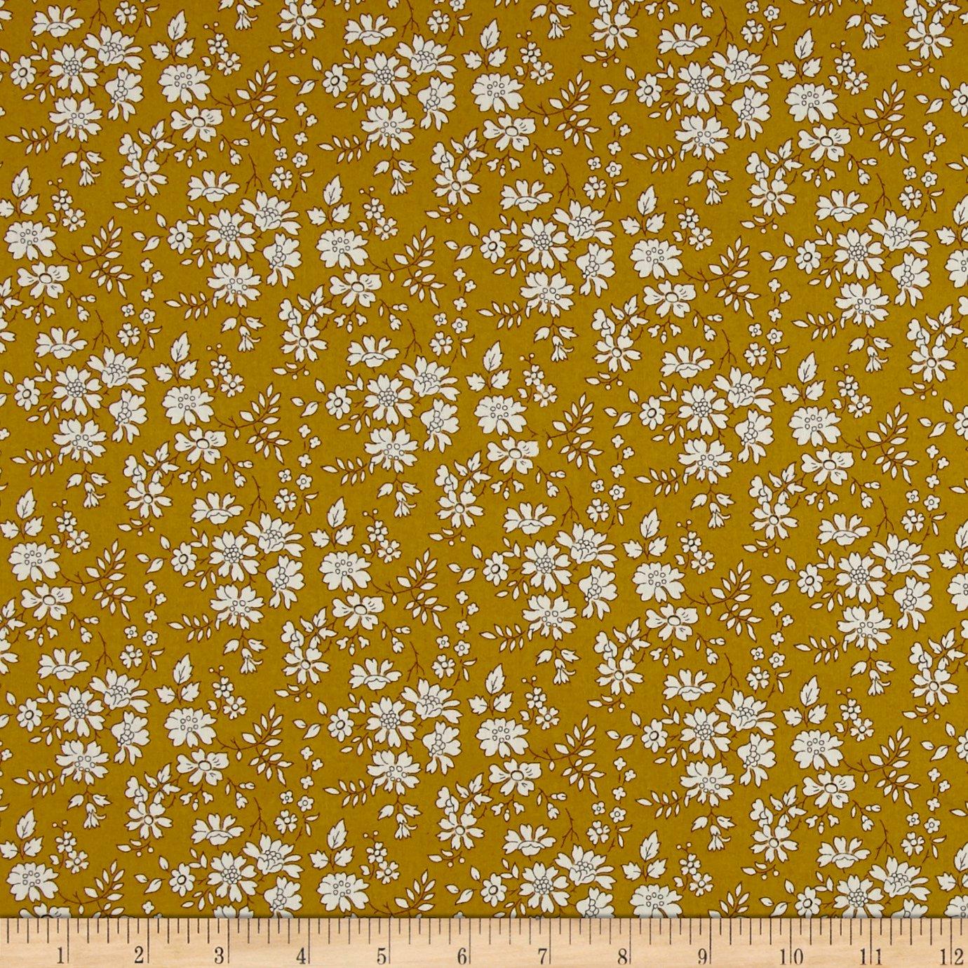 Liberty Fabrics Tana Lawn Capel Mustard Fabric by the Yard