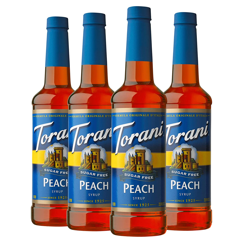 Torani Sugar Free Syrup, Peach, 25.4 Ounces (Pack of 4)