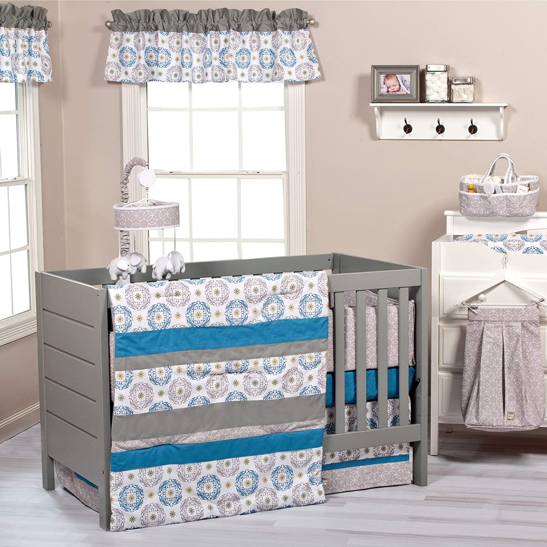 Monaco 3-Piece Crib Bedding Set Blue Grey White Stripe Neutral Cotton 3 Piece Reversible
