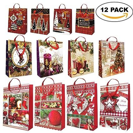a0d3c15bff40b0 Pacco da 12 - Sacchetti regalo di natale assortiti - con corde e tag regalo  - design festive moderno e tradizionale: Amazon.it: Casa e cucina