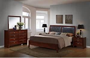Roundhill Furniture Emily 111 Contemporary Wood Bedroom Set with ...