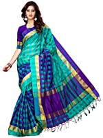 Asavari Women's Blended Saree With Blouse Piece (Nsm16-Lc-Uda-Sfr_Violet & Sapphire)