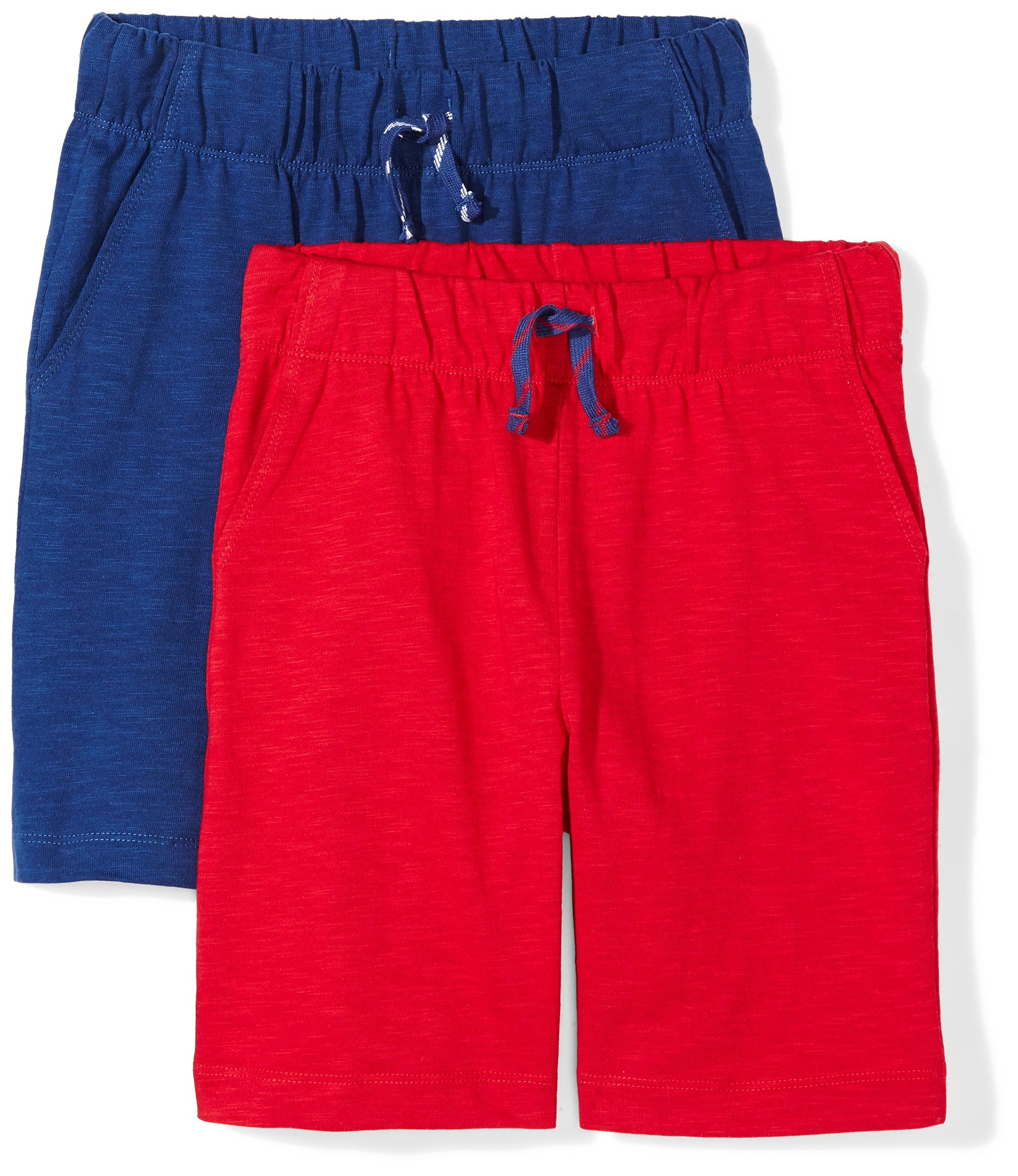Spotted Zebra Boys' Toddler 2-Pack Jersey Knit Shorts, Blue/Red, 4T
