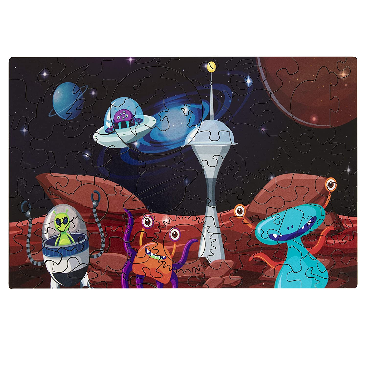 South Bend Woodworks Kids Wooden Jigsaw Puzzle Outer Space Theme
