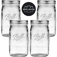 Ball Mason Jars Wide Mouth 32 oz Bundle with Non Slip Jar Opener- Set of 4 Quart Size Mason Jars - Canning Glass Jars…