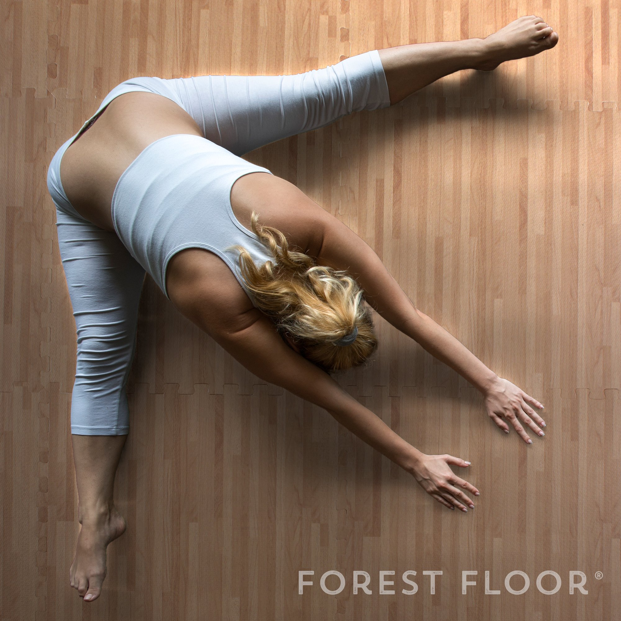 Forest Floor 3/8'' Thick Printed Wood Grain Interlocking Foam Floor Mats, 16 Sq Ft (4 Tiles), White Oak by Forest Floor (Image #7)
