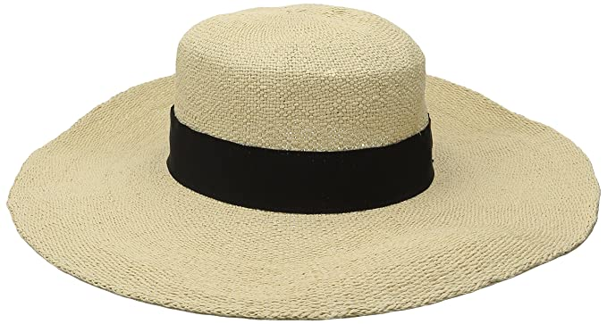 8332b5daa03 San Diego Hat Company Women s Boater Hat with Black Ribbon Trim and ...