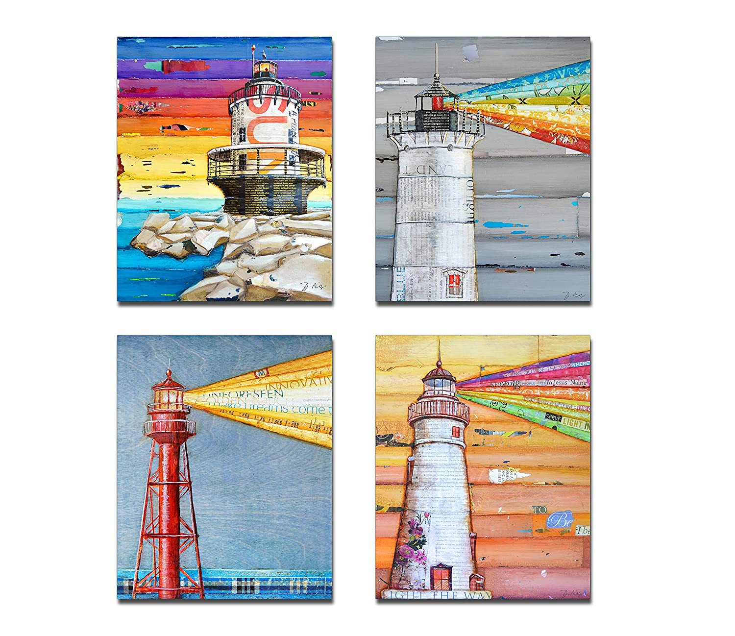 Lighthouse Art Prints, Set of 4, By Danny Phillips, Unframed, Mixed Media Collage Wall Art Decor Posters, 8x10 Inches