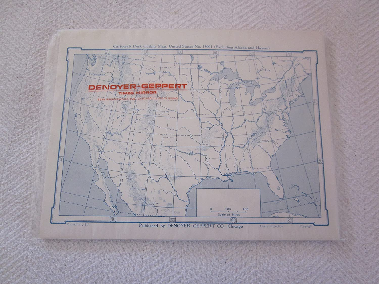 Amazon.com: Cartographic Desk Outline Map, United States, No ...