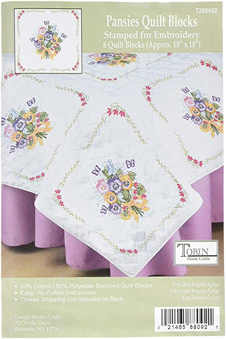 Amazon Tobin T288092 Stamped White Quilt Block 18 By 18 Inch