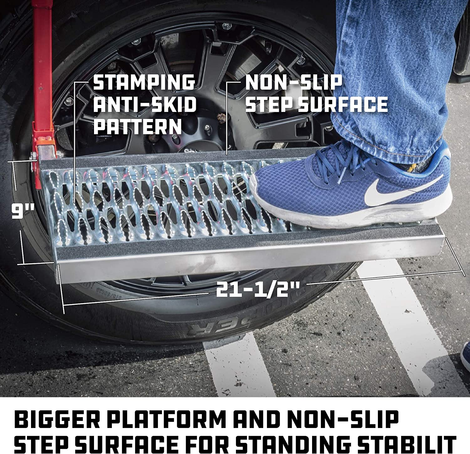 """Truck Tire Step Wheel Step Adjustable Fits Tires Up To 13/"""" Wide"""