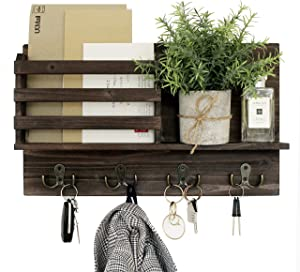 Mail and Key Holder for Wall -  Rustic Wooden Home Decor - Mail Organizer with 4 Metal Hooks for Hanging Keys - Entryway Decorative Wood Mail sorter with Shelf