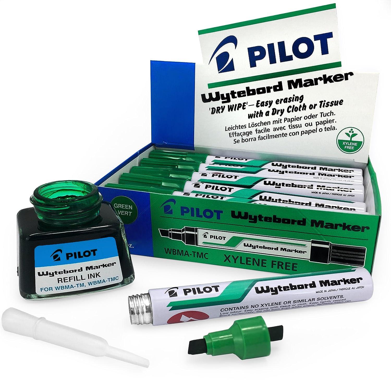 Pilot - Rotuladores para pizarra blanca y tinta de recambio – borrado en seco – punta de cincel – tinta verde – Paquete de 12 rotuladores + botella de ...