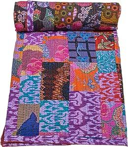 Mycrafts Indian Queen Cotton Kantha Quilt Patchwork Bedspread Floral Print Bedcover Throw Blanket Gudari, 85x106