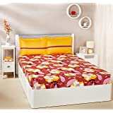 Amazon Brand - Solimo Floral Swirls 144 TC 100% Cotton Double Bedsheet with 2 Pillow Covers, Brown