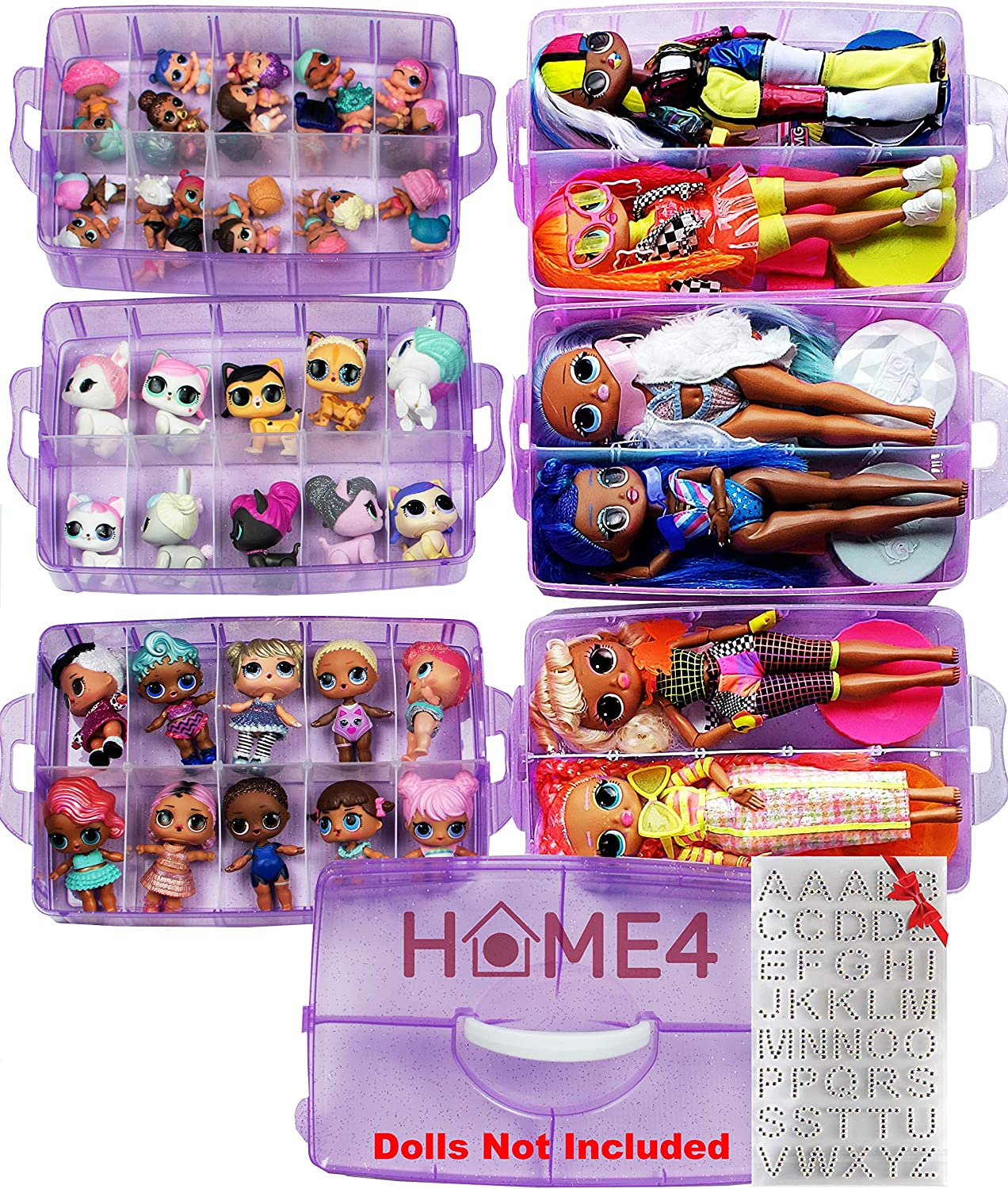 HOME4 No BPA 60 Adjustable Compartments 6 Layers Stackable Storage Container Organizer Carrying Display Case, Compatible with Small Toys LOL, Shopkins, OMG (Dolls Not Included) (Purple)