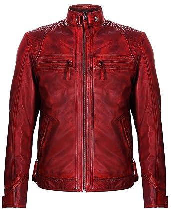 Leather Nappa Herren Bikerjacke Rot Retro Echt Infinity Leder Gesteppte Aus vmN08nOw