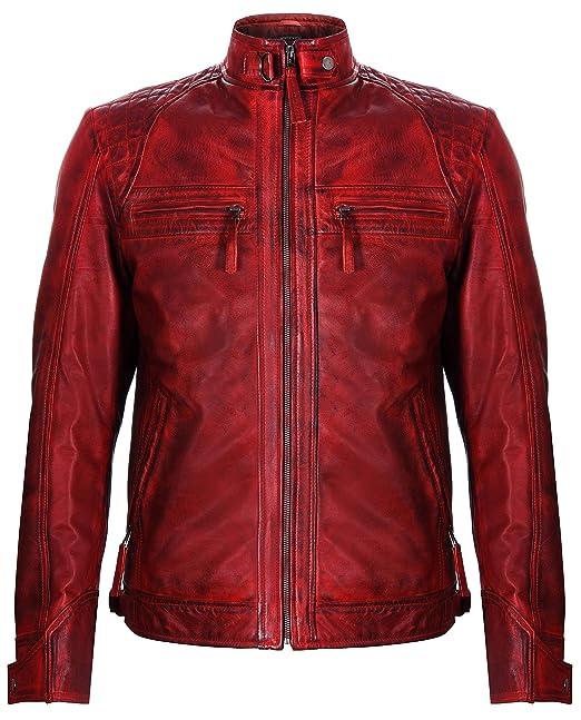 Infinity Leather Chaqueta de Cuero Roja Napa Acolchada Retro ...