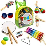 Tomi Music-18 Piece Musical Instrument Set for Toddlers Children and Kids–Wooden Percussion Toys and Rhythm Instruments includes Xylophone, Drum -Promotes Early Development and Educational Learning.