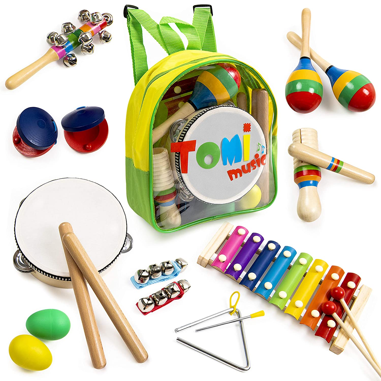 18 pcs Musical Instruments Set for Toddler and Preschool Kids – Tomi Music Toy - Wooden Percussion Toys for Boys and Girls Includes Xylophone - Promotes Early Development and Educational Learning. Tomi toys