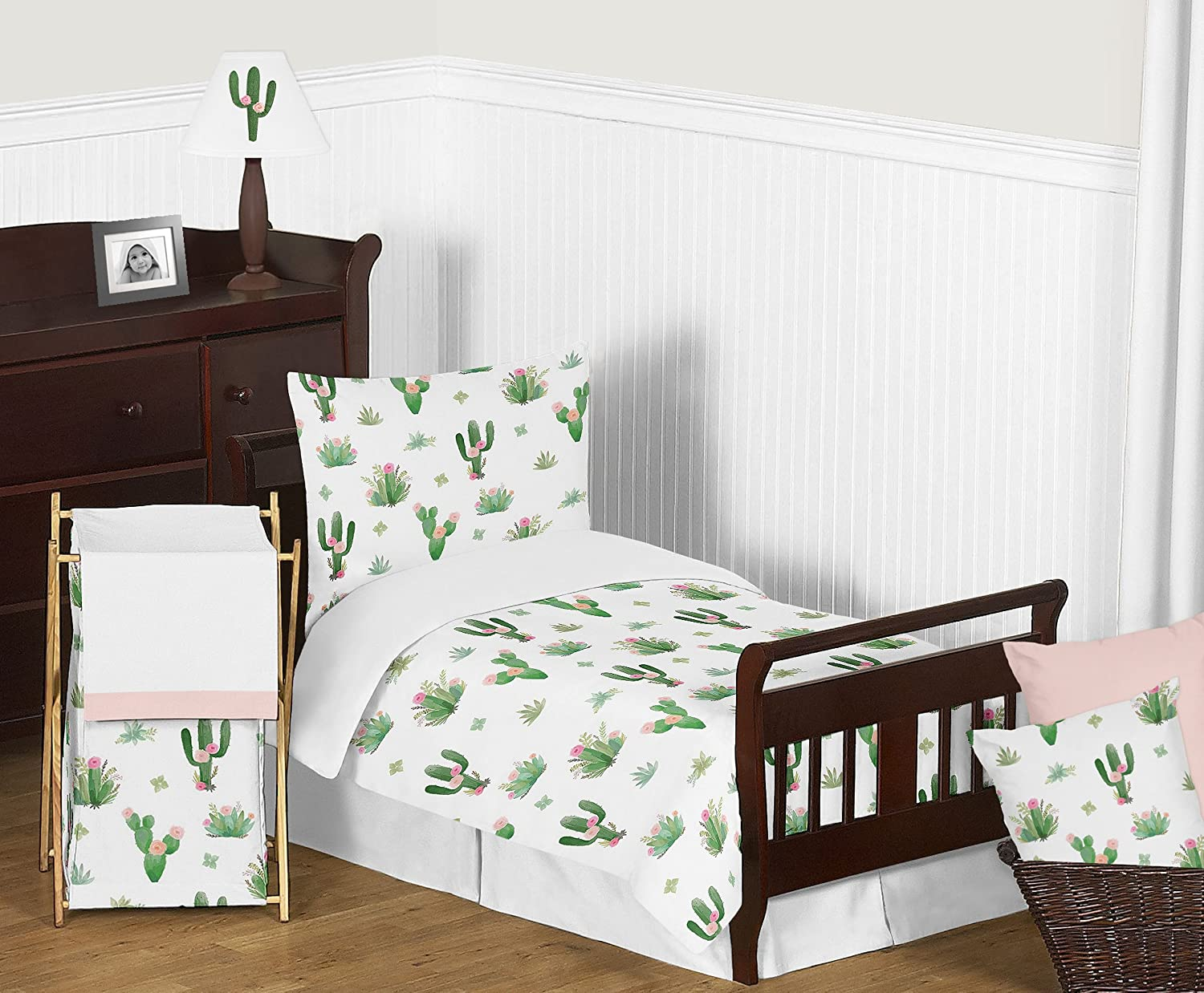 Pink and Green Boho Watercolor Cactus Floral Girl Toddler Kid Childrens Bedding Set by Sweet Jojo Designs 5 pieces Comforter Sham and Sheets