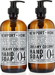2 Bottles, Hand Soap, Creamy Coconut 16 oz/473 ml Infused w/Coconut Oil & Essential Oil by Home and Body Co