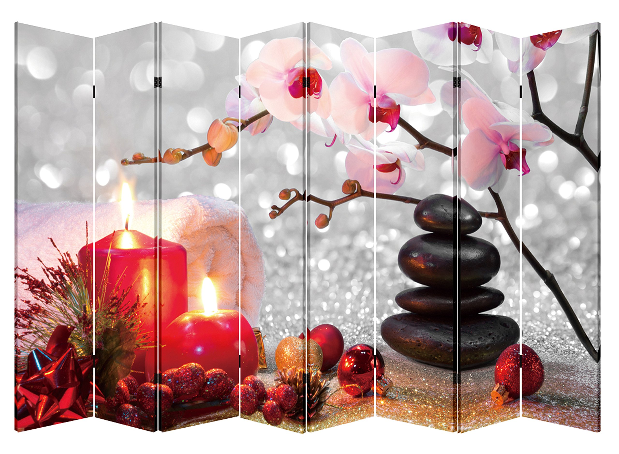 8 Panel Folding Screen Canvas Privacy Partition Divider- Winter Spa