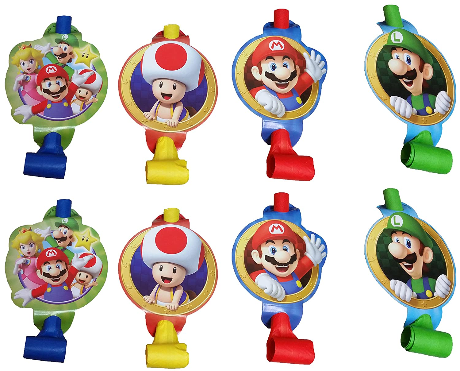 Amazon.com: Super Mario Bros Party Blowouts and Paper Hats for 8 ...