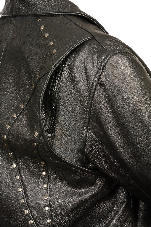 Milwaukee Womens Classic Motorcycle Leather Jacket Black, XX-Large