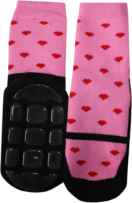 Weri Spezials Baby and Children Frotte socks Non Slip Socks with Dancing shoes in Black-Dark Rose