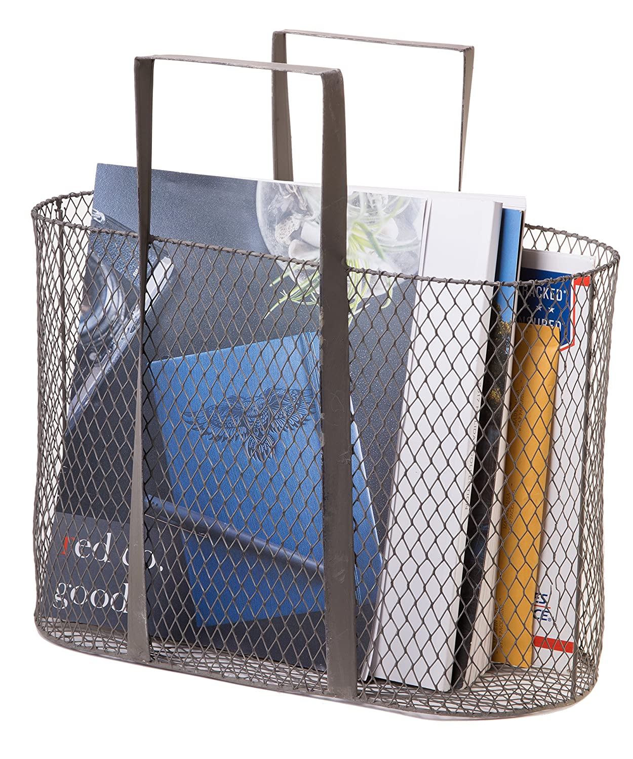 Red Co. Farmhouse Chic Wire Mesh Carry All Basket, Metal Decorative Storage, Large Size, 14-inch 83474-ZZB