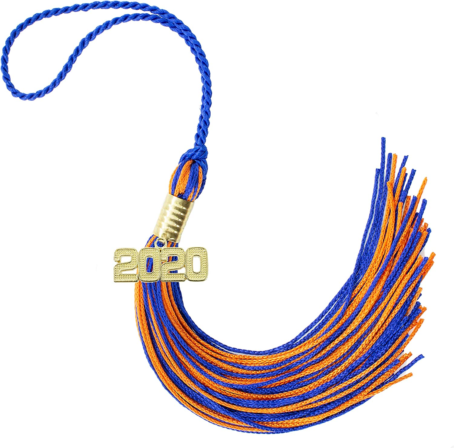 Made in USA Every School Color Available 2020 Royal//Orange Graduation Tassel