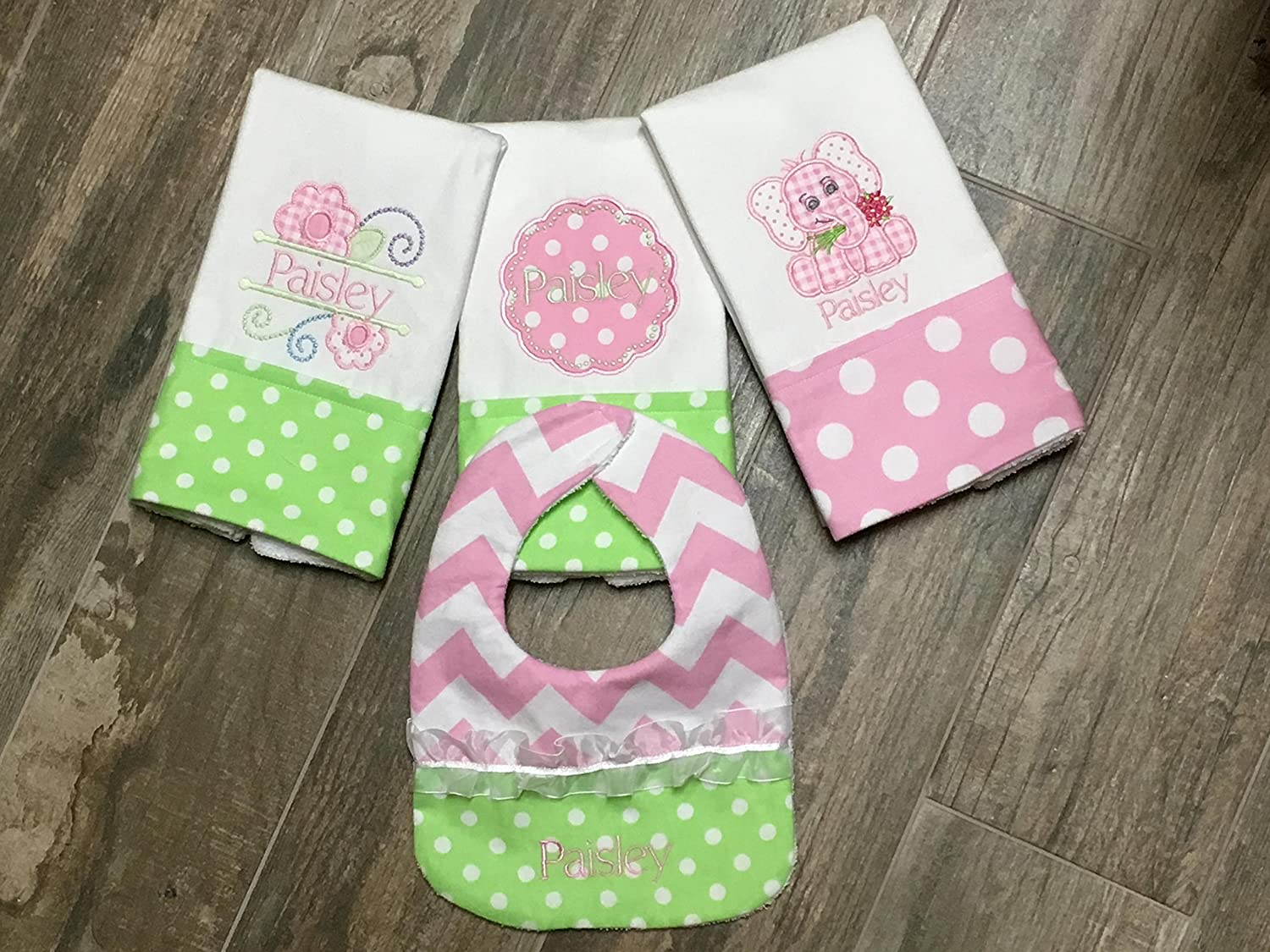 3 Embroidered, Personalized Burp Cloths, Applique Elephant and Floral Pink and Green burp cloths with a matching bib, Boutique Burp Cloth